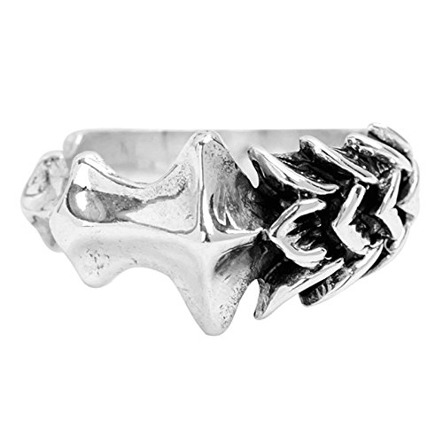 Beydodo Mens Silver Ring, Bone Ring Size 7 Mens Rings Hip Hop by Beydodo