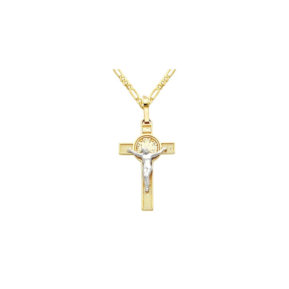14k Two Tone Gold Jesus Cross Religious Charm Pendant with 2mm Figaro Chain Necklace   18