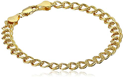 Double Link Silver Bracelet - Amazon Essentials Yellow Gold Plated Sterling Silver Double-Link Chain Bracelet, 7