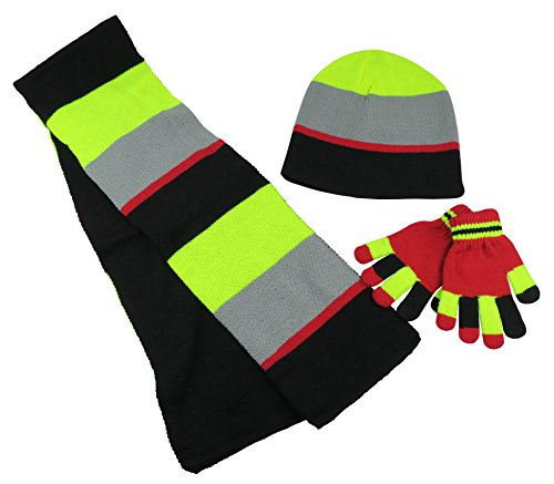 N'Ice Caps Kids Reversible Knitted Hat/Scarf/Magic Stretch Glove Accessory Set (3-6 Years, Black/Red/Neon Yellow/Grey with (Down Ski Mittens)