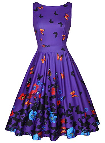A-line Butterfly - OTEN Women's Flared Sleeveless Boat Neck A Line Floral Dress with Pockets (L, Purple Butterfly)