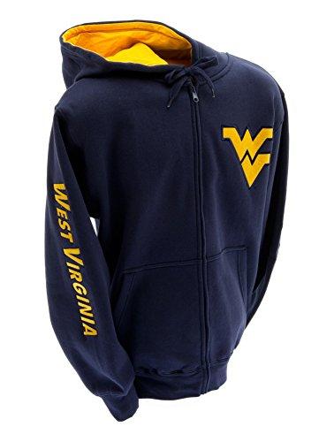 Elite Fan Shop WVU West Virginia Mountaineers Embroidered Zip Hooded Sweatshirt Navy Left Chest Logo - S ()