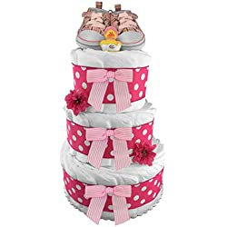Pink Tennis Shoes 3-Tier Diaper Cake - Baby Shower Gift - Centerpiece