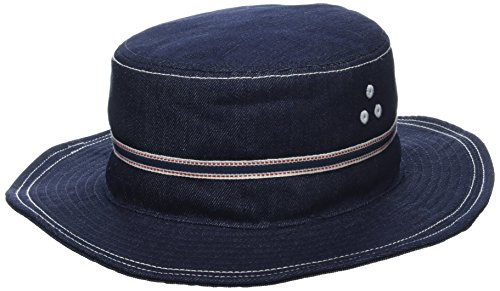 Kangol Men's Denim Stitch Bucket Hat, Indigo, L (Blue Denim Bucket Hat)