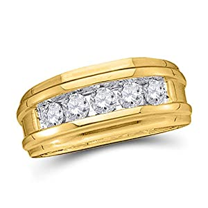 14k Yellow Gold Mens Round Diamond Wedding Channel Set Band Ring 1/4 Cttw