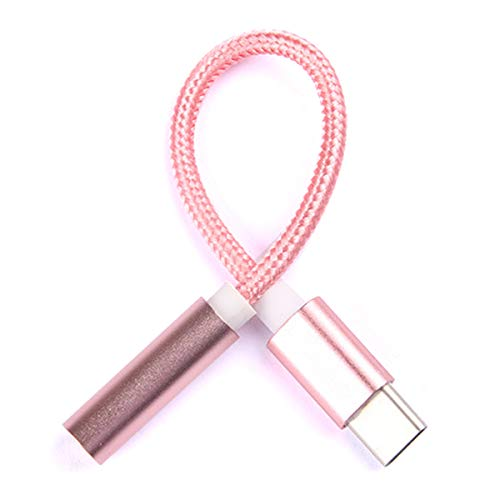 SIREG USB C Headphone Jack Adapter,Type-C to 3.5mm Headset Dongle Speaker Earphone Stereo Audio for Huawei, LG, Honor, Lenovo, Samsung Galaxy and Most Android Phone (Rose Gold) (Telephone Adapter Earbuds)