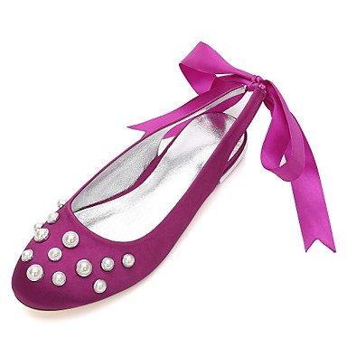 RTRY Las Mujeres'S Wedding Shoes Confort Satin Primavera Verano Boda Vestido De Noche &Amp; Rhinestone Bowknot Champán Heelivory Plana Rubí Azul US6 / EU36 / UK4 / CN36