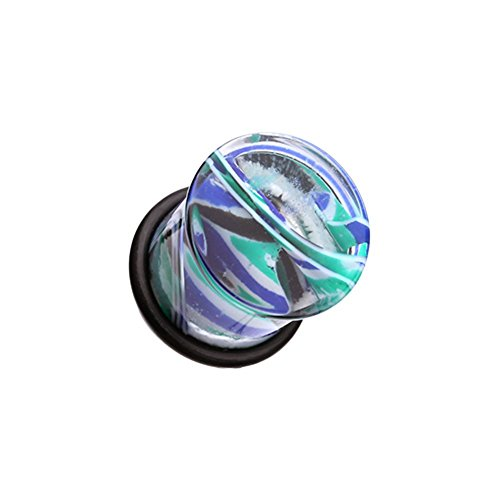 (Covet Jewelry Vibrant Marble Swirls Single Flared Ear Gauge Plug (0 GA (8mm), Green/Blue))