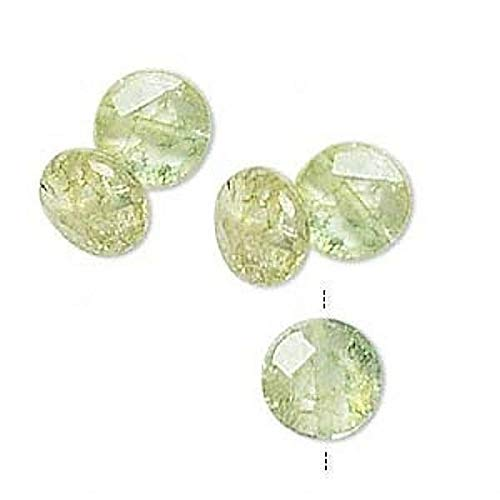 5 Peridot Green Ice Flake Quartz 10Mm Faceted Flat Round Coin Beads ()