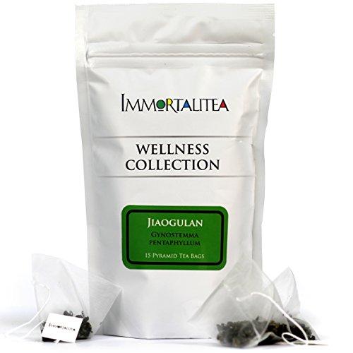 Gynostemma Tea - Jiaogulan AMPK Activator Herbal Tea - Potent Antioxidant & Adaptogenic Longevity Herb - All Natural Caffeine-Free Immortality Herb - 15 Pyramid Tea Bags