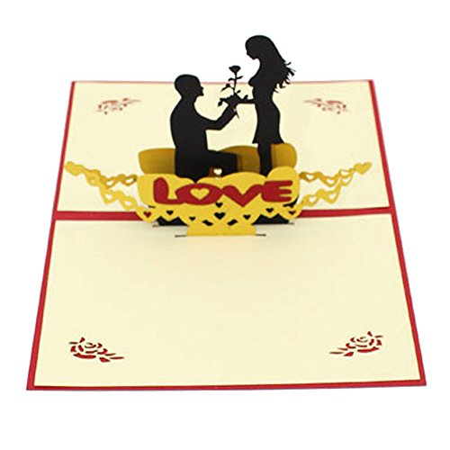 Orcbee  _3D Pop Up Cards Valentine Lover Happy Birthday Anniversary Greeting Cards ()