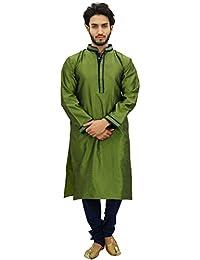 Atasi Men's Kurta Pyjama Set Long Green Casual Bollywood Ethnic Shirt