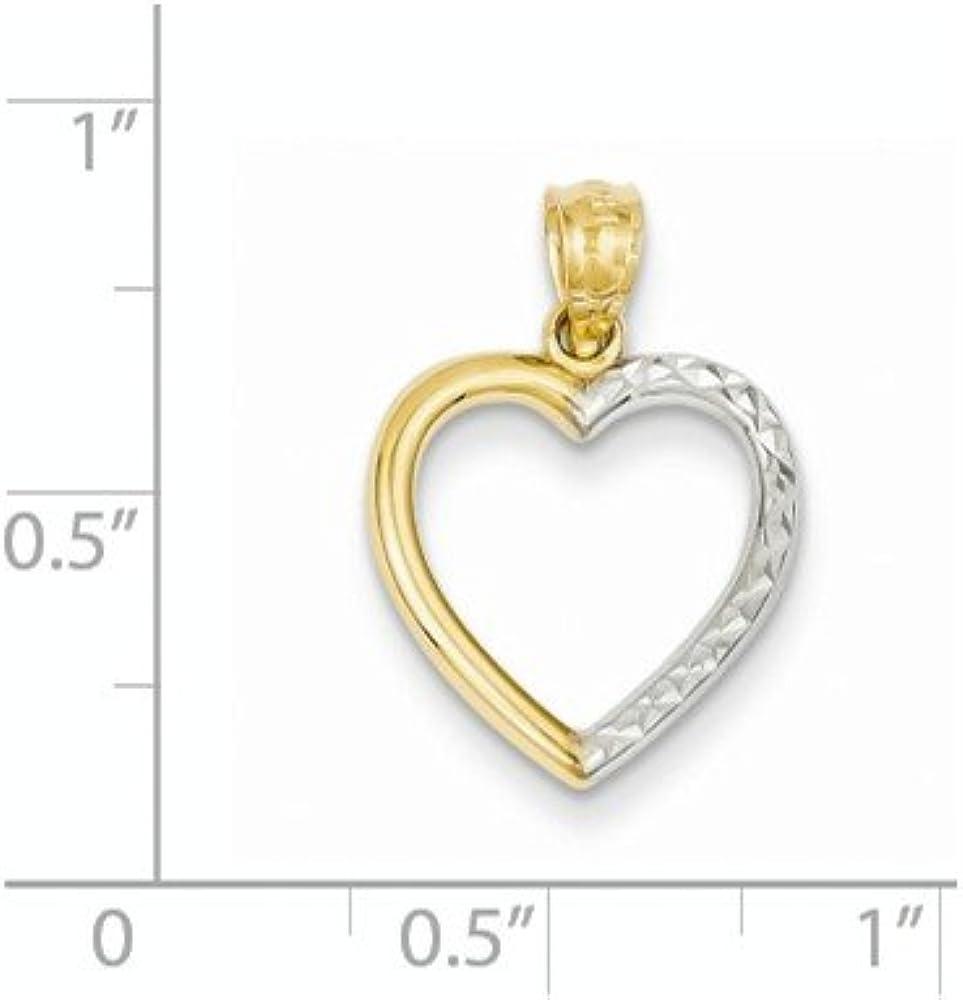 Diamond2Deal 14k Yellow Gold Rhodium Plated Half Diamond-cut Heart Pendant