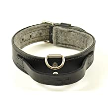 "2"" Heavy Duty Leather Dog Collar with Felt and Handle RedLine K9 (16""-22"")"