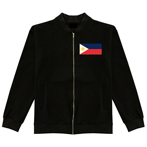 Philippines Flag Country Chest Cotton Bomber Jacket X-Large Black