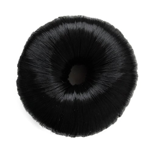 Hair Donut Up Do Hair Ring Hairstyler Bun creator Bridal Hair Piece (Jet Black)
