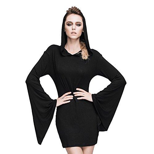 Devil Costume Steam (Steampunk Sexy Hooded Dress Gothic Punk Tops Renaissance Costume Victorian Mini Dress (S, Black))