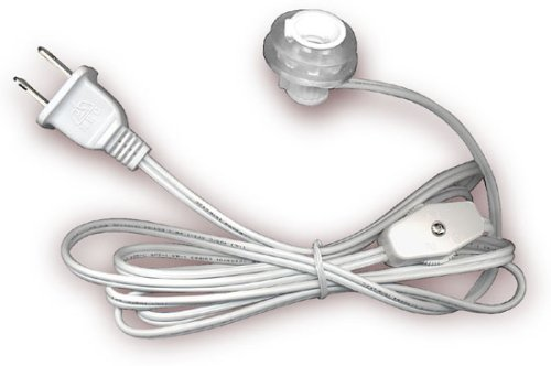Lamp Cord With Push-In Socket, Rotary Switch And Plug - 6' White (Pkg/5) by National Artcraft (Image #1)