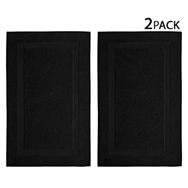 Cotton Craft - 2 Pack Bath Mat - Black - 100% Ringspun Cotton Tub Mat 21x34 - Oversized 21x34 Heavy Weight 1000 Grams - 2 Ply Construction - Highly Absorbent - Soft Underfoot - Easy Care Machine Wash