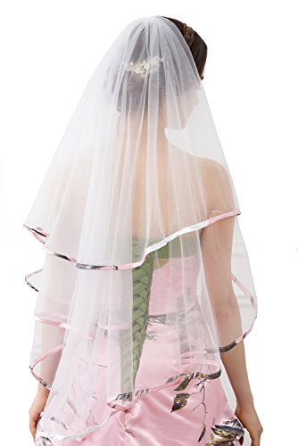 iLovewedding Bridal Veils Camo Wedding Veil for Bridal Wedding Dress Accessories (Pink)