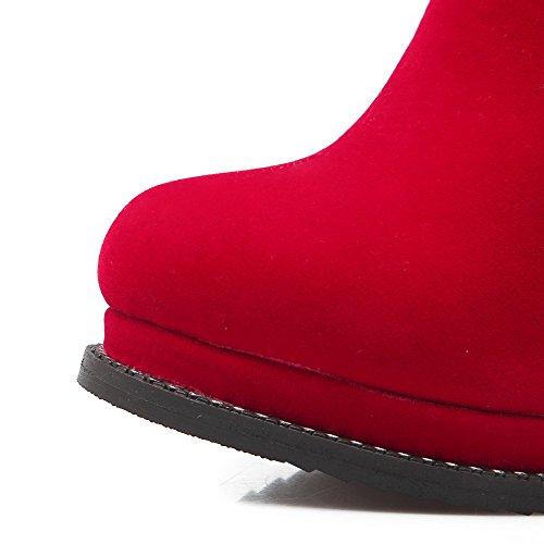AllhqFashion Damen Reißverschluss Hoher Absatz PU Leder Rein Hoch-Spitze Stiefel Rot