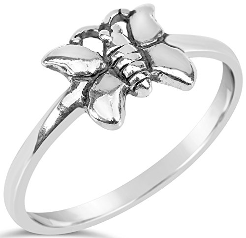 Animals Collection Womens Sterling Silver Butterfly Ring Size 7, Includes Care Bundle