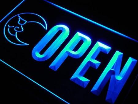 j806-b OPEN Bar Blue Moon Beer Club Neon Light Sign
