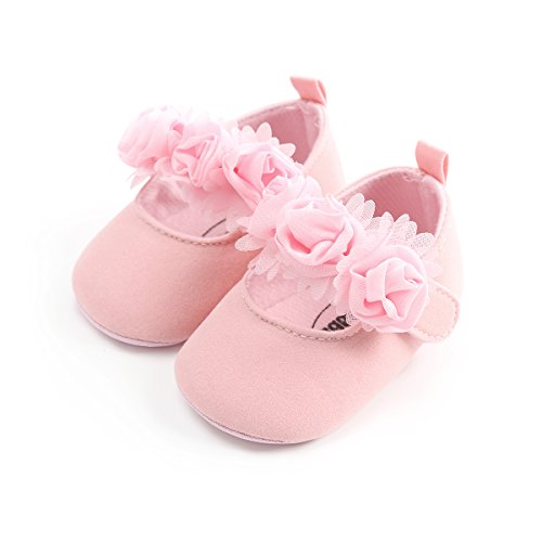 Isbasic Baby Boys Girls Flat Shoes Toddler Soft Sole Mary Jane Pincess Christening Baptism Crib Shoes (0-6 Months, Cotton Pink)