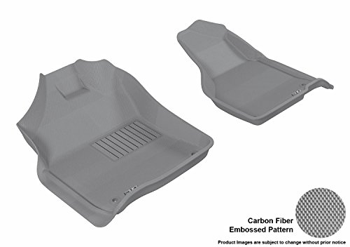 3D MAXpider Front Row Custom Fit All-Weather Floor Mat for Select Dodge Ram Models – Kagu Rubber (Gray)