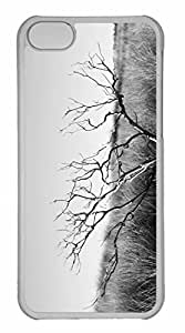 iPhone 5C Case, Personalized Custom Dry Tree Black And White for iPhone 5C PC Clear Case