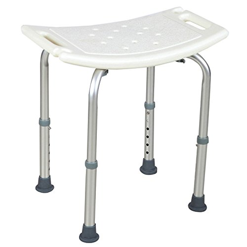 totoshop Adjustable Medical Bath Tub Shower Chair Bench Stool Seat Without Back New White 6 Height