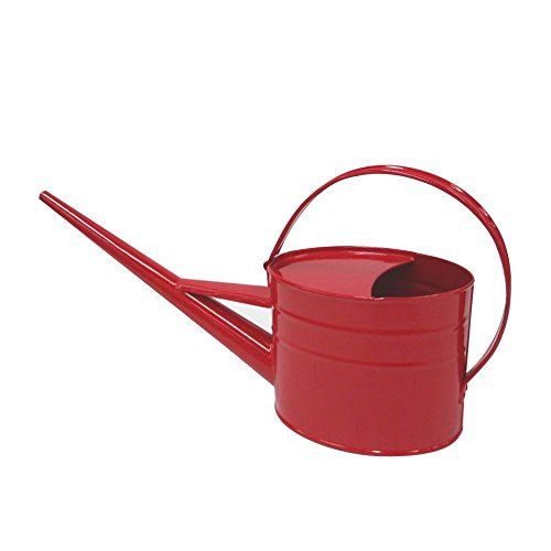 Calunce Hand made rustic retro textured 1.5L long spout watering can red