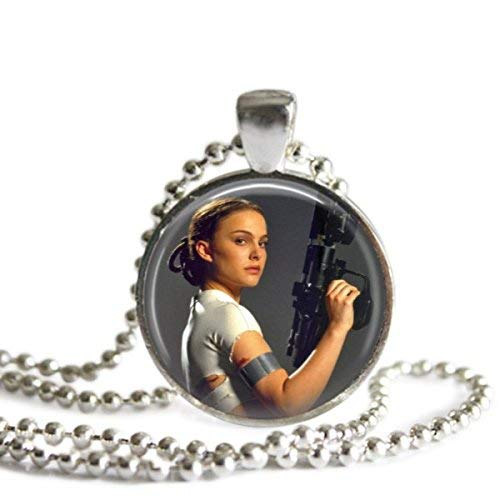 Star Wars Padme Amidala 1 Inch Silver Plated Pendant Necklace or Keychain]()