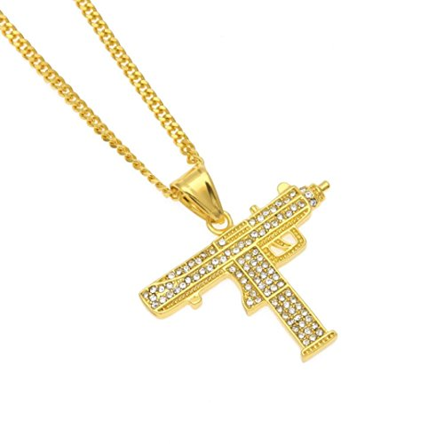 en Womens Plated Submachine Gun Iced Out Rhinestone Pendant Gold Cuban Chain Necklace Punk Style (Gold, Alloy) ()