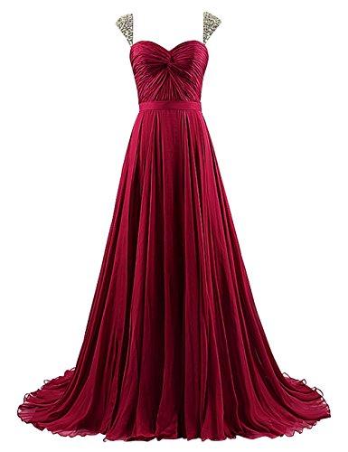 Vestito Formale Sera Perline Delle Lungo Prom Bordeaux Cinghie Con Bess Sposa Da Donne Abito dqSxnE0H