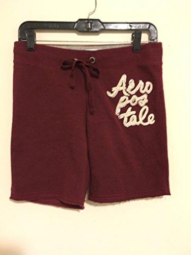 aeropostale-burgundy-maroon-sweat-athletic-drawstring-bermuda-shorts-size-womens-xs