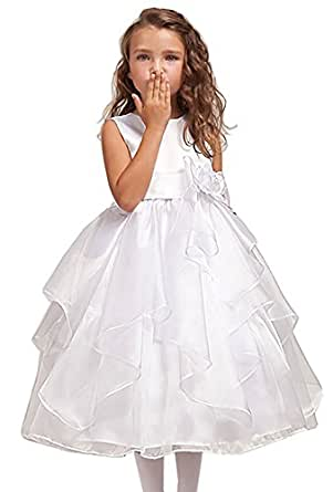 018e662c3d3 Image Unavailable. Image not available for. Color  DressForLess Satin Bodice  with Layered Organza Ruffle Skirt Flower Girl Dress