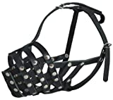 Secure Genuine Leather Mesh Dog Basket Muzzle - Pit Bull, (Circumference 12.5'', Snout Length 3.5'')