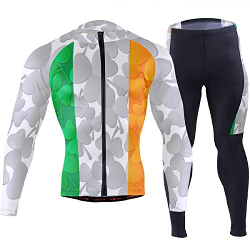 Irish Flag Shamrocks Men's Cycling Jersey Set Breathable Quick-Dry MTB Road Bike Luxury Black