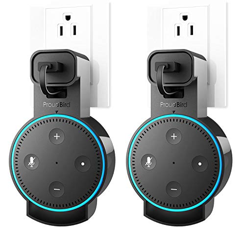 GGMM Outlet Wall Mount Hanger Stand for Echo DOT 2nd Generation, Mess Wires Or Screws Manager for Your Smart Home Voice Assistants(Only for DOT 2nd Generation)-2 Pack from GGMM
