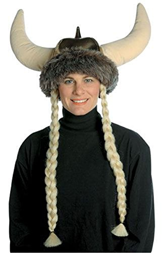 Tricorner Pirate Feather Adult Hat (OvedcRay Adult Space Viking Hat W/ Braids Norwegian Medieval Norse Warrior Costume Helmet)