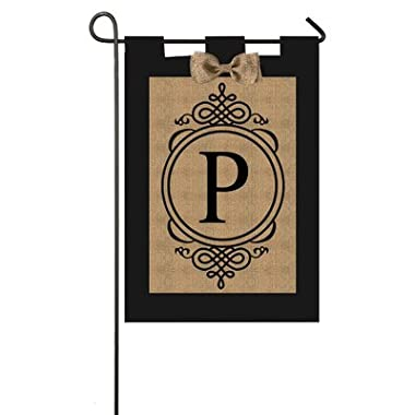 Evergreen Flag 14B2704M Garden Sub Burlap Monogram Flag