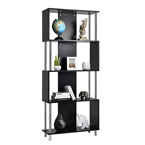 Giantex 4 Shelf Bookcase Modern Display Shelf Organizer Snaking Bookshelf Industrial Style Storage Display Unit Bookshelf 72.5