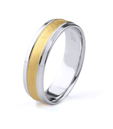 (10k Gold Men's Two Tone Comfort-Fit Wedding Band with Satin Finish Center & Polished Beveled Edges (6mm))
