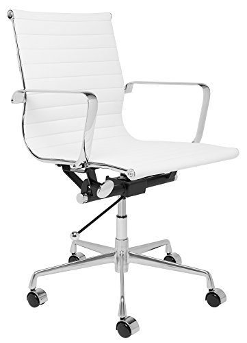 SOHO Eames Style Ribbed Management Office Chair (White) (Desk Laura)