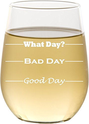 Good Day, Bad Day - Funny 17 oz Stemless Wine Glass, Permanently Etched, Gift for Mom, Co-Worker, Friend, Boss, Christmas - SG10 by Frederick Engraving (Image #1)
