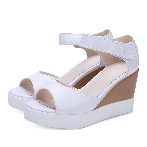 AmoonyFashion Womens High Heels Hook and Loop Open Toe Solid Sandals White Yc62WgUc