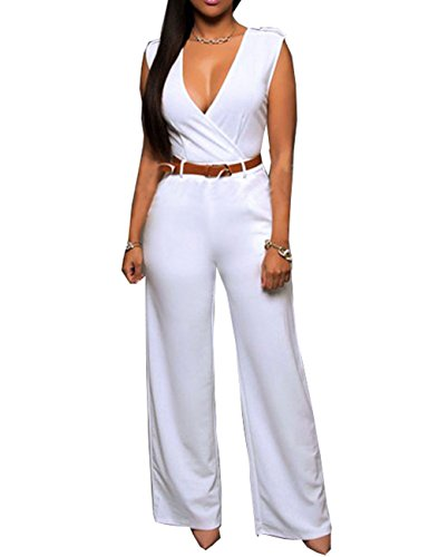 iecool Womens Sexy Deep V Sleeveless High Waist Belted Wide Leg Jumpsuit White Medium