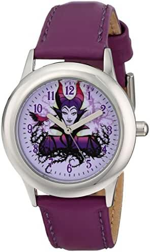 Disney Kids' W001652 Maleficent Stainless Steel Watch with Purple Leather Band