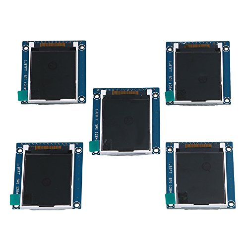 Yibuy 5PCS 1.8'' 1.8 inch Serial SPI TFT LCD Module Display PCB Adapter 128X160 Pixels by Yibuy
